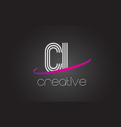 Cl c l letter logo with lines design and purple vector