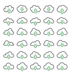 cloud line icons set outline linear pictogram vector image