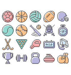 Collection outlined pixel icons sport vector