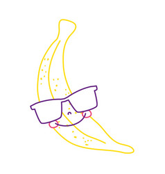 Color line happy banana fruit with sunglasses vector