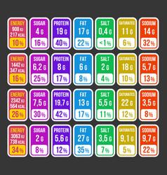 Color nutrition facts information label set vector