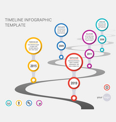 Company timeline template with wavy path vector