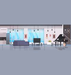 Contemporary home hall musical instruments piano vector