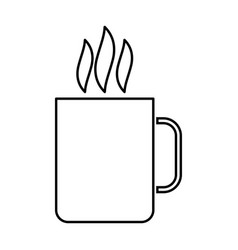 Cup with hot drink black color icon vector