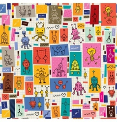 Cute robots collage cartoon retro doodle pattern vector