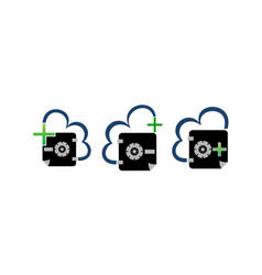 Digital document cloud secure vault set vector