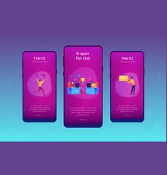 E-sport fans app interface template vector