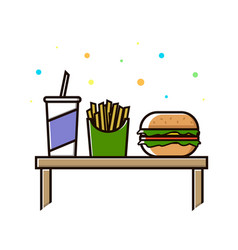 fast food menu cola hamburger and french fries vector image