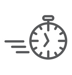 fast stopwatch line icon time and speed timer vector image