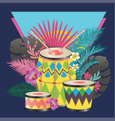 Festive drum with tropical leaves vector