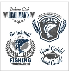 Fishing emblems badges and design elements vector image