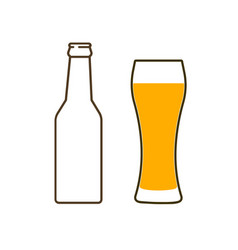 glass of beer and bottle vector image