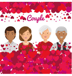 grandparents couple with hearts pattern vector image