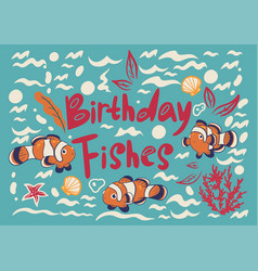 Greeting card with fish clowns vector