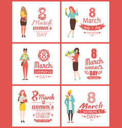 greeting postcards on 8 march with happy women vector image