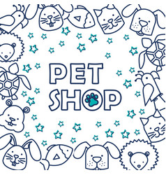 group of pets pattern vector image