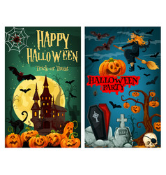 Halloween spooky ghost house and cemetery banner vector