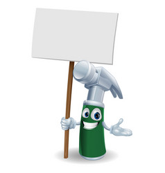 hammer mascot holding sign vector image