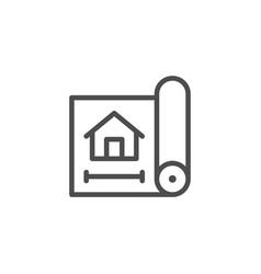 House blueprint line icon vector