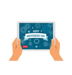 independence day celebration online live video vector image