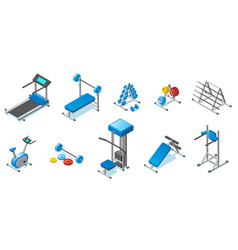 Isometric fitness equipment collection vector
