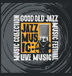 Jazz music poster with microphone and vinyl record vector