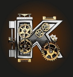 K letter with gears vector
