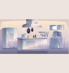 kitchen in restaurant empty interior with supplies vector image