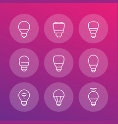 Led light bulbs icons linear vector