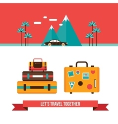 Lets travel background with suitcases bag Summer vector