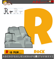 Letter r worksheet with cartoon rock object vector