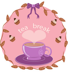 Lilac cup of tea on a pink background vector