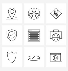 Line icon set 9 modern symbols listing vector