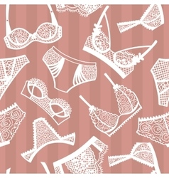 Lingerie panty and bra seamless pattern vector