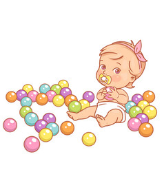 little bagirl in diaper hold plastic ball vector image