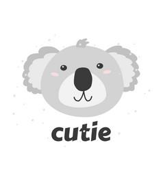 Little coala s head with word cutie simple vector