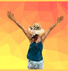 Low poly of woman tourist extend vector