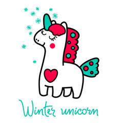 Magic unicorn in the winter for your design vector