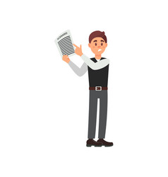 male assistant holding a clapperboard vector image