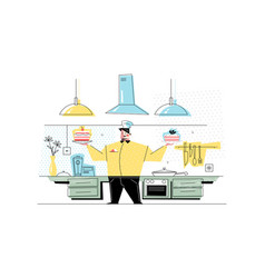 man confectioner at workplace vector image