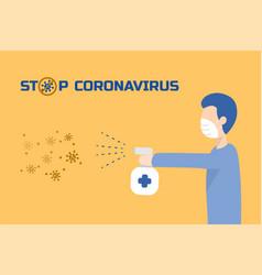 Man spray to kills viruses about coranavirus vector