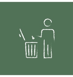 Man throwing garbage in a bin icon drawn chalk vector image