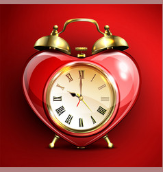 Metal retro style alarm clock in heart form vector