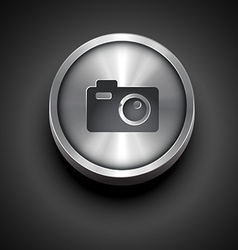 metallic camera icon vector image
