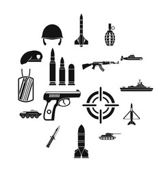 military icons set simple style vector image