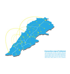 Modern of lebanon map connections network design vector
