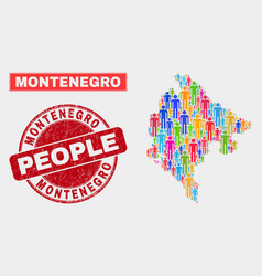 Montenegro map population people and unclean seal vector