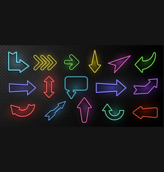 neon arrows lighting with bright design signs vector image