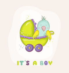 Newborn parrot riding in carriage baby shower vector