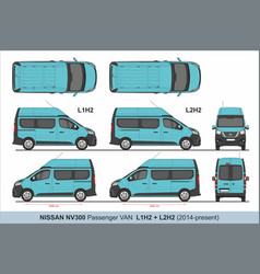 Nissan nv300 passenger van l1h2 and l2h2 2014-pres vector